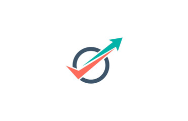 check and arrow up icon business logo