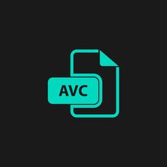 AVC file icon. Flat vector illustrator
