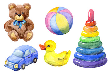 Hand drawn watercolor set of toys