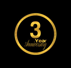 3 anniversary with black golden ring