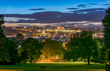 Prague Old Town Panorama from Riegrovy Sady Beer Garden