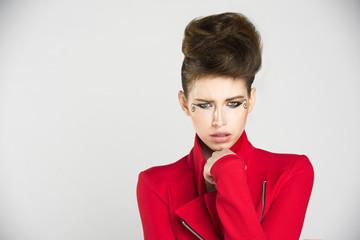 Fashion Model Red Jacket