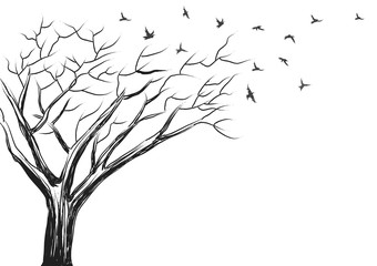 Brush sketch of tree and birds