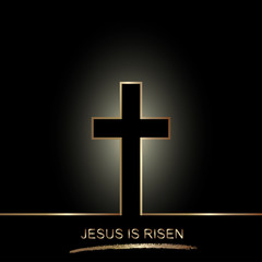 Golden cross isolated on black background. Easter christian motive,with text Jesus is risen, vector illustration.