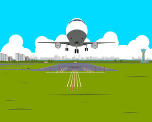 Airplane takes off from the airport in the afternoon on a background of the city. Vector illustration