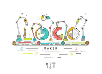 Concept of creating and building logo / Robotic production line / manufacturing and machine / typography