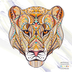 Patterned head of the lioness on the grunge background. African / indian / totem / tattoo design. It may be used for design of a t-shirt, bag, postcard, a poster and so on.