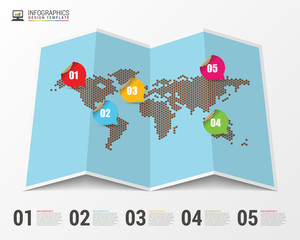 World map with infographic elements. Modern design. Vector