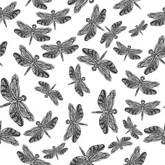 Seamless pattern with hand-drawn insects. Black and white monochrome insect texture. Dragonfly and beetle vector pattern ornament.