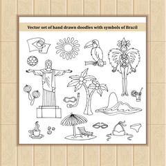 Vector set of hand drawn isolated doodles with symbols of Brazil