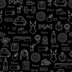 Vector seamless pattern with hand drawn symbols of fitness and sport on black color