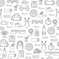 Vector seamless pattern with hand drawn symbols of fitness and sport on white color