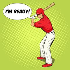 Baseball player with bat pop art style vector