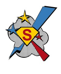 Superhero logo power symbol.