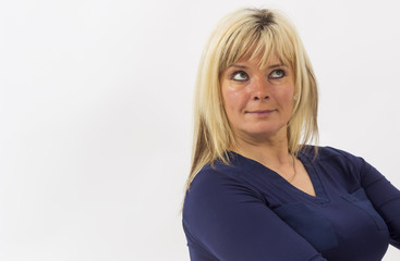 Portrait of beautiful 40-year-old blond woman with space