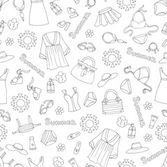 Vector seamless pattern with hand drawn isolated swimwear on white color