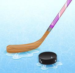 Hockey stick and hockey puck.  Illustration 10 version