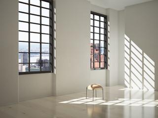 White interior with sunlight