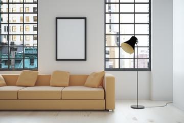 Interior design with blank frame