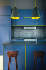 Blue kitchen with yellow edging