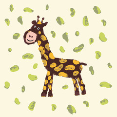 Giraffe with smile. Child drawing. Cheerful brown giraffe with yellow spots is on light-yellow background with green beans