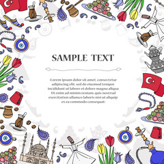 Cute decorative cover with hand drawn colored symbols of Turkey