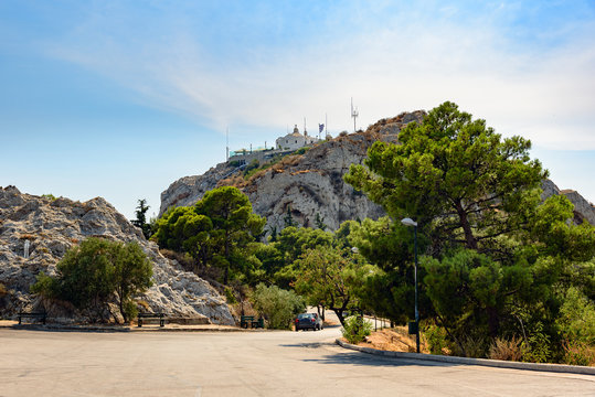 Road to Mount Lycabettus with church on top in Athens