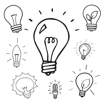 Vector set of hand drawn light bulbs, group of doodle icons
