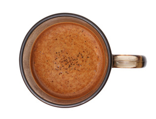 Poster Chocolate Coffee skin in a cup on a white background