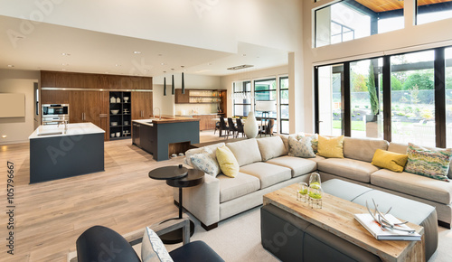 Beautiful Living Room Interior In New Luxury Home With View Of
