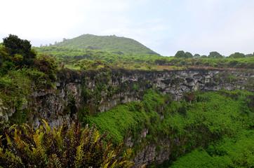 Vulkan und Krater in tropischer Vegetation