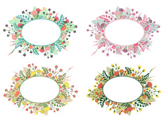 Vintage flower frame for greeting card, wedding or birthday invitation and other holiday. Vector summer background.
