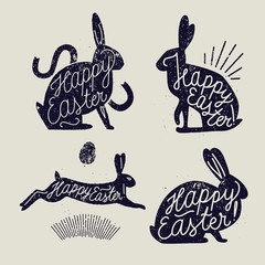 easter rabbit handwriting rubber stamp set. animal holliday lettering.