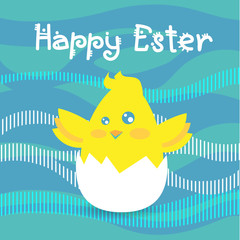 Easter Holiday Greeting Card With New Born Chicken Egg Abstract Background Flat