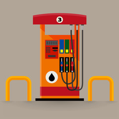 Flat vector web icon of modern gas pumps station with a safety bar