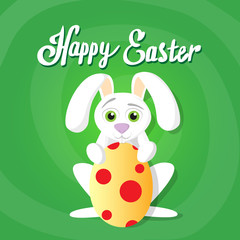 Easter Rabbit Hold Decorated Colorful Egg Holiday Symbols