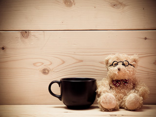 Coffee with teddy bear
