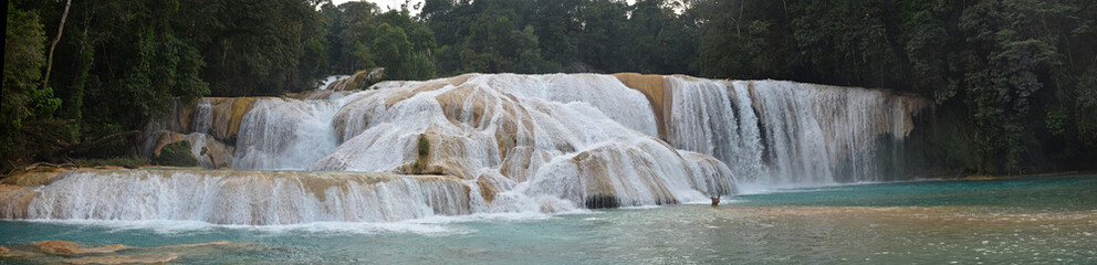 Panorama view of Agua Azul waterfall, Yucatan  Peninsula, Mexico