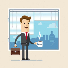 Manager, boss, clerk. Employee of office with a cup in hand. Illustration, vector EPS10.