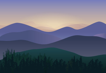 Vector illustration with Panorama Mountains view. Wonderful nature scenery.