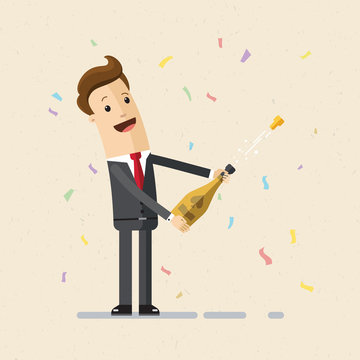 Businessman uncorking a bottle of champagne. Illustration,  vector EPS 10.