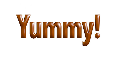 Yummy! text made of chocolate syrup on white background.