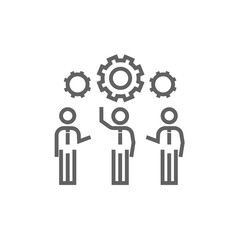 Businessmen under the gears line icon.