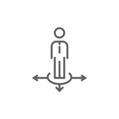 Businessman in three ways line icon.