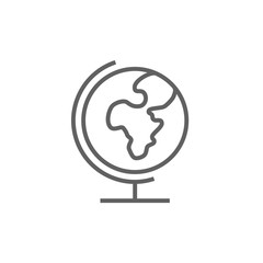 World globe on stand line icon.