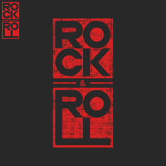 Rock and roll concert musical poster background, text lettering t-shirt print shabby texture