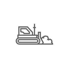 Bulldozer line icon.