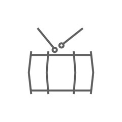 Drum with sticks line icon.