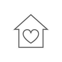 House with heart symbol line icon.