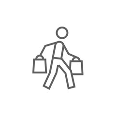 Man carrying shopping bags line icon.